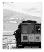 San Francisco Cable Car With Alcatraz Fleece Blanket