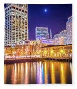 San Francisco Downtown City Skyline At Night Fleece Blanket