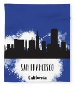 San Francisco Skyline Silhouette Fleece Blanket