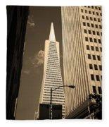 San Francisco - Transamerica Pyramid Sepia Fleece Blanket