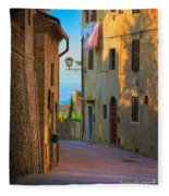 San Gimignano Alley Fleece Blanket