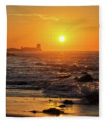 Sancti Petri Castle At Sunset San Fernando Cadiz Spain  Fleece Blanket