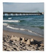 Sand Castles And Piers Fleece Blanket