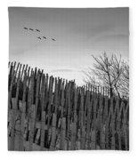 Dune Fences - Grayscale Fleece Blanket