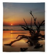 Sand Surf And Driftwood Fleece Blanket