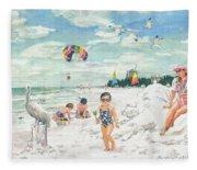 Sandcastles On Siesta Key Public Beach Fleece Blanket