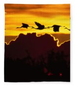 Sandhill Crane At Sunset Fleece Blanket