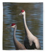Sandhill Crane Couple By The Pond Fleece Blanket