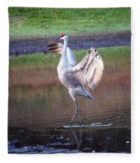 Sandhill Crane Painted Fleece Blanket