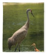 Sandhill Crane With Baby Chick Fleece Blanket
