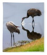 Sandhill Cranes Reflection On Pond Fleece Blanket
