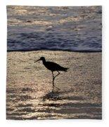 Sandpiper On A Golden Beach Fleece Blanket