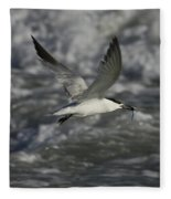Sandwhich Tern Flies Over Stormy Waves Fleece Blanket