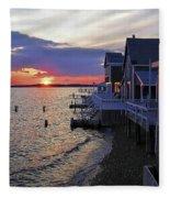 Sandy Neck Sunset At The Cottages Fleece Blanket