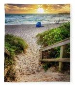 Sandy Walk Down To The Beach Fleece Blanket