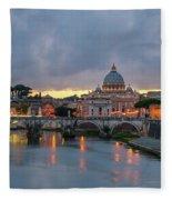 Sant Angelo Bridge At Dusk Fleece Blanket
