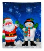 Santa And Frosty Painting Image With Canvased Texture Fleece Blanket