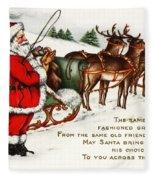 Santa And His Reindeer Greetings Merry Christmas Fleece Blanket