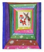 Santa And His Reindeer Fleece Blanket