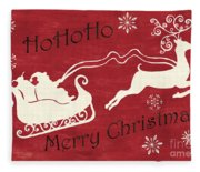 Santa And Reindeer Sleigh Fleece Blanket