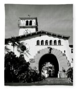 Santa Barbara Courthouse Black And White-by Linda Woods Fleece Blanket