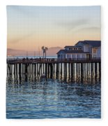 Santa Barbara Wharf At Sunset Fleece Blanket