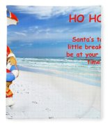 Santa Christmas Greeting Card Fleece Blanket