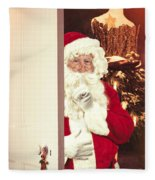 Santa Claus At Open Christmas Door Fleece Blanket
