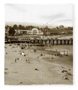 Santa Cruz Beach With Ideal Fish Restaurant 1930's Fleece Blanket