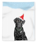 Santa Dog In The Snow Fleece Blanket