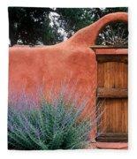 Santa Fe Gate No. 2 - Rustic Adobe Antique Door Home Country  Fleece Blanket