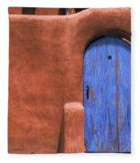Santa Fe Gate No. 3 - Rustic Adobe Antique Door Home Country Southwest Fleece Blanket