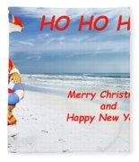 Santa Merry Christmas And Happy New Year Card Fleece Blanket