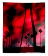 Santa Monica Palms Fiery Red Sunrise Silhouette Fleece Blanket