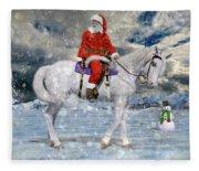 Santa Rides To Town Fleece Blanket
