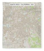 Santa Rosa California Us City Street Map Fleece Blanket