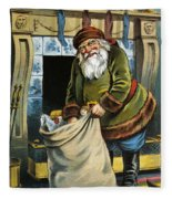 Santa Unpacks His Bag Of Toys On Christmas Eve Fleece Blanket