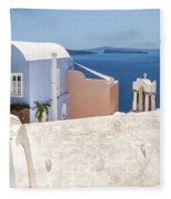 Santorini Blue House In Oia Fleece Blanket