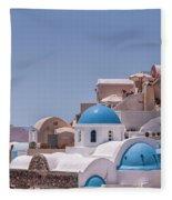 Santorini Church In Oia Fleece Blanket