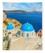 Santorini Oia Church Caldera View Digital Painting Fleece Blanket