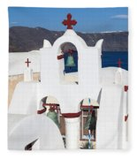 Santorini White Fleece Blanket