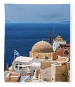 Santorini Windmill And Church Fleece Blanket