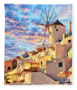 Santorini Windmill At Oia Digital Painting Fleece Blanket