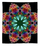 Satin Rainbow Fractal Flower II Fleece Blanket