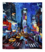 Saturday Night In Times Square Fleece Blanket