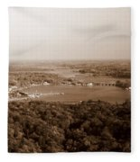 Saugatuck Michigan Harbor Aerial Photograph Fleece Blanket