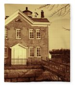 Saugerties Lighthouse Sepia Fleece Blanket