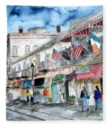 Savannah Georgia River Street Fleece Blanket