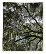 Savannah Green Leaves Fleece Blanket