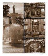 Savannah Landmarks In Sepia Fleece Blanket